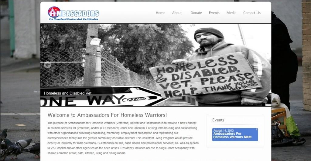 Ambassadors For Homeless Warriors Website Screenshot